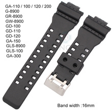 16mm Rubber Watchbands Men Black Sport Diving Silicone Watch Strap Band Metal Buckle For Casio Watch Accessories все цены