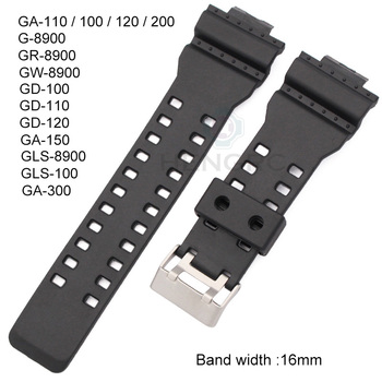 16mm Rubber Watchbands Men Black Sport Diving Silicone Watch Strap Band Metal Buckle For g-shock Watch Accessories 16mm silicone rubber watch band strap fit for casio g shock replacement black waterproof watchbands accessories