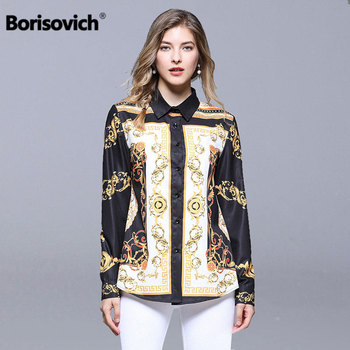 Vintage Print Women Casual Shirt Europe Style Luxury Elegant Office Lady Blouses Shirts