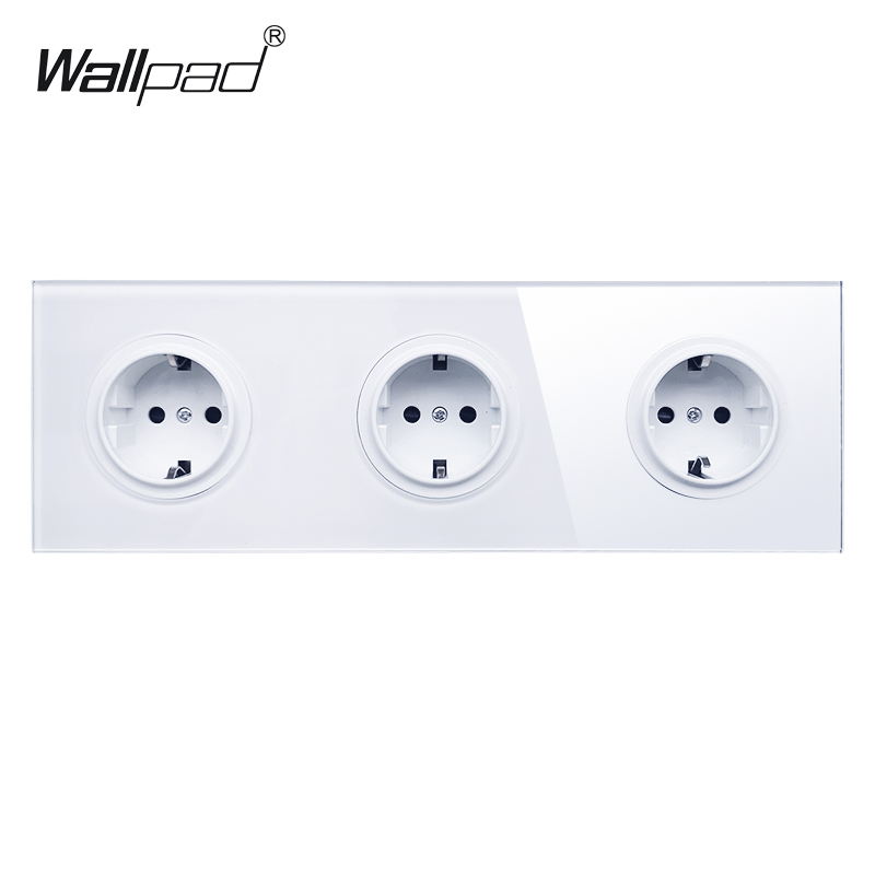 Wallpad Triple 3 Gang German Plug Schuko Power Outlet Wall Socket with White Tempered Glass Panel 258*86mm uk standard 1 gang socket with 2 usb chargering 3 pin white glass panel wall socket and 2100ma usb wall plug outlet