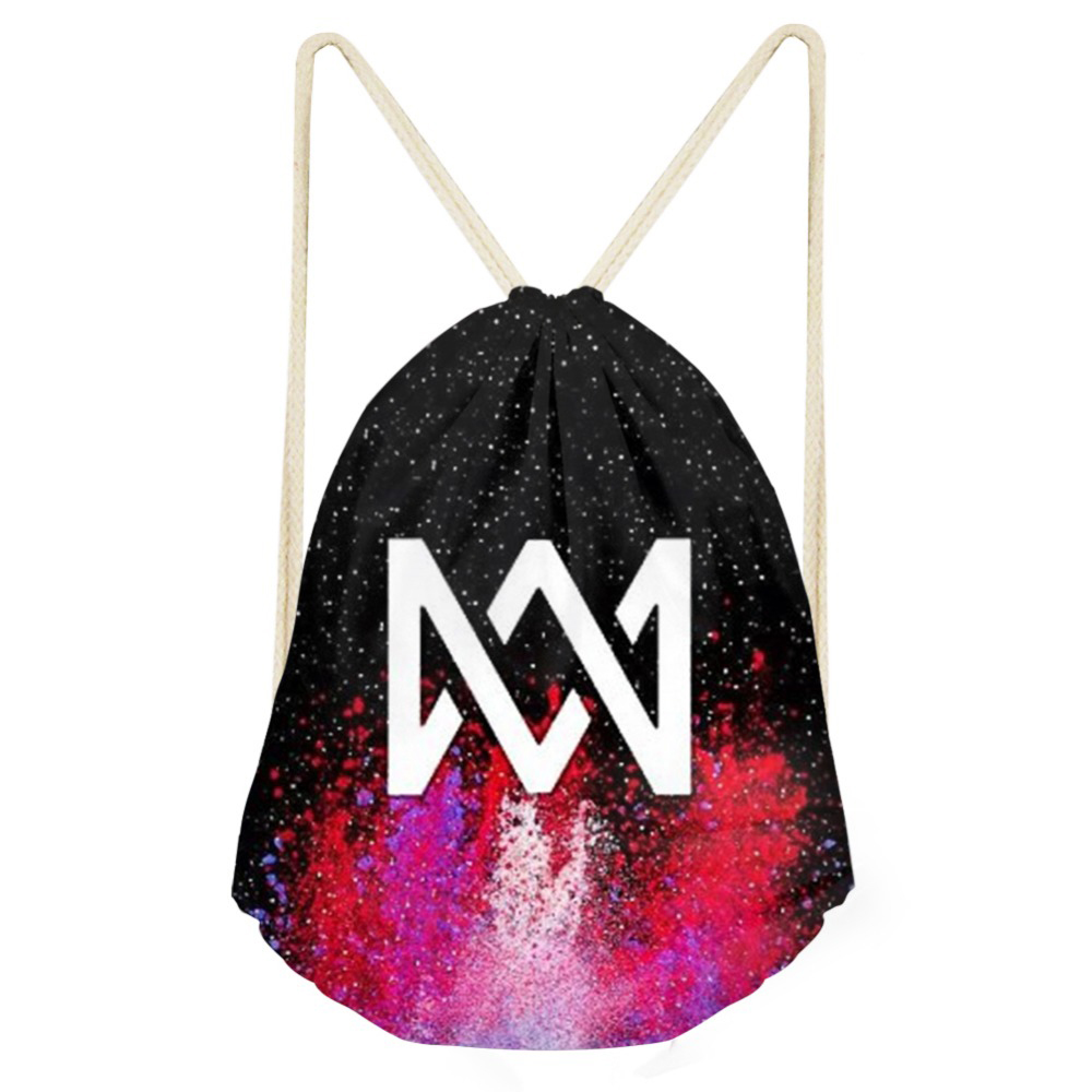 ThiKin Marcus And Martinus Sequined Logo Print  Kids Drawstring Bag Children Small Backpack For Teenager Boys Daily Storage