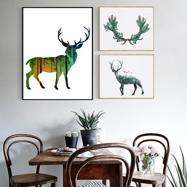 Pared Imágenes de la Sala Deer Pino Natural Bosque Escandinavo ...