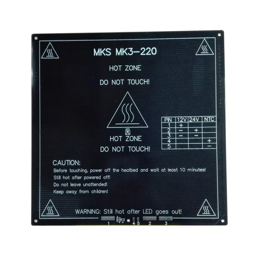 Actualizado, alta Temperatura de 120 Grados 220*220*3mm Impresora 3D PCB HeatBed