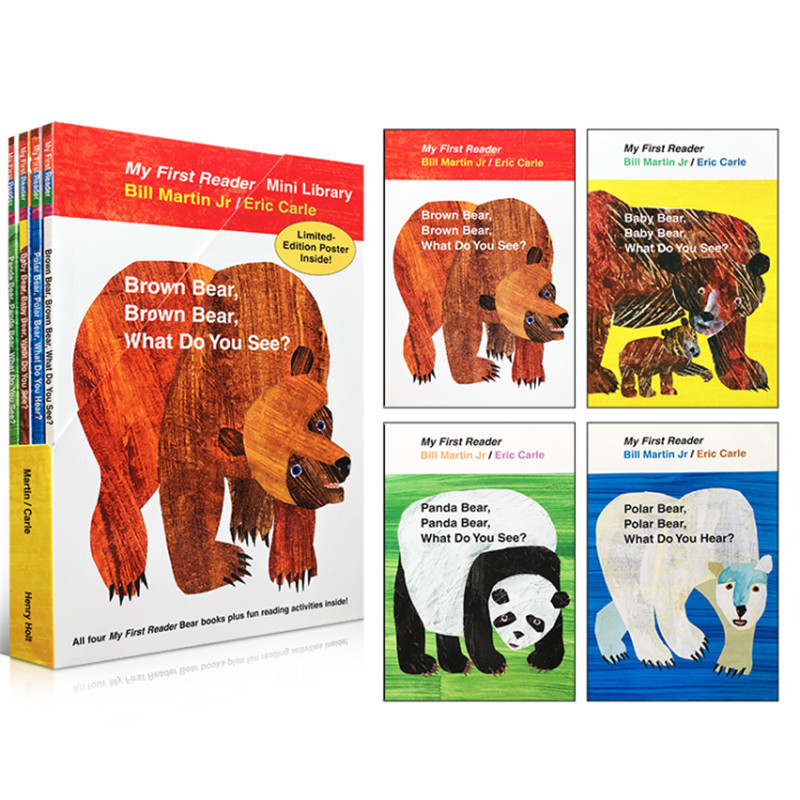 4PCS English book for children My First Reader Mini Library: Brown Bear, Brown Bear, What Do You See? educational popular book4PCS English book for children My First Reader Mini Library: Brown Bear, Brown Bear, What Do You See? educational popular book