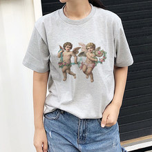 Michelangelo Angel Top Harajuku T Shirt Women Short Sleeve Tee Shirt Femme Sunmmer Tshirt Aesthetic Vintage T-shirt Women Tumblr(China)