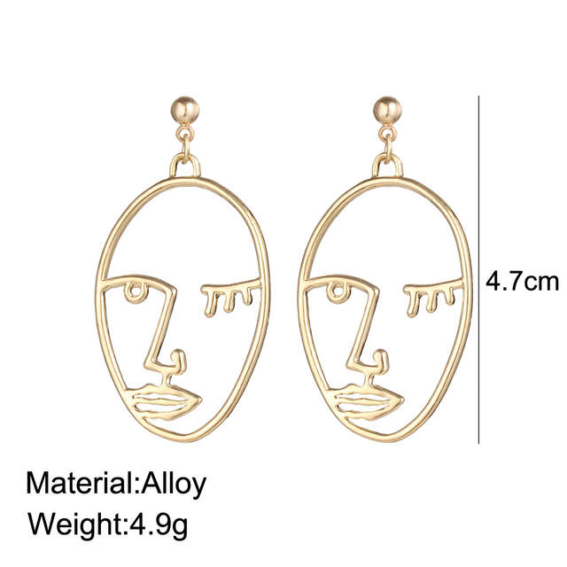 48bc708b6c5b5 Fashion Human Abstract Face Earrings Gold Color Hollow Korean Hand  Pendientes Summer Earring For Women Ear Jewelry Art Deco