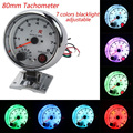 free shipping Tachometer 3.75inch tachometer with 7 colors led 0-8000RPM /car gauge/auto gauge/Tachometer/Car meter