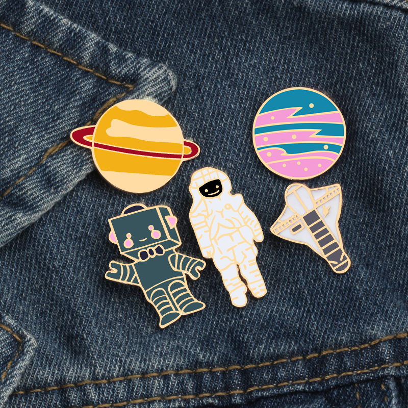 1pc Cute Telescope Universe Metal Badge Brooch Button Pins Denim Jacket Pin Jewelry Decoration Badge For Clothes Lapel Pins Selected Material Badges Arts,crafts & Sewing