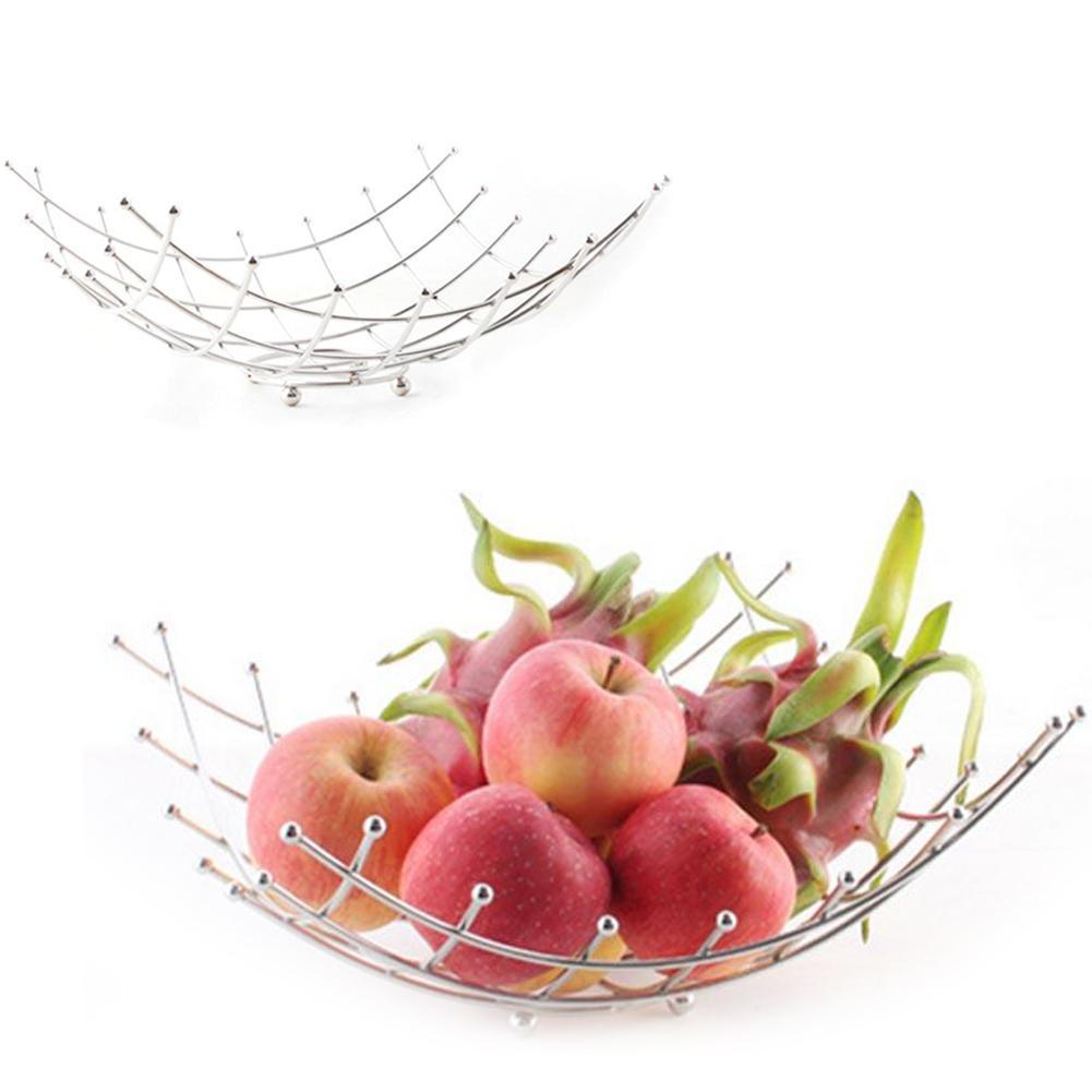 high quality wholesale modern fruit basket from china modern fruit  - new decorative fruit bowl household fruit plate modern fashion creativesilver color stainless steel fruit basket