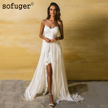 White Ivory Sexy High Slit Sweetheart Lace Appliques Spaghatti Straps Up Back Bridal Wedding Dresses Vestidos de Noivas