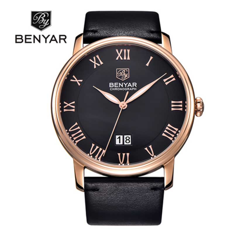 BENYAR Mens Business Watches Brand Luxury Calendar Roman Numerals Leather Fashion Casual Quartz Watch Relogio Masculino 2018 new mce brand quartz watches for women fashion roman numerals simple watch casual stainless steel leather strap clock 002