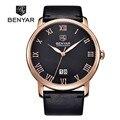 BENYAR Herren Business Uhren Marke Luxus Kalender Römischen Ziffern Leder Mode Casual Quarzuhr Relogio Masculino