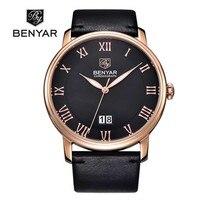 BENYAR męskie zegarki biznesowe marka luksusowy kalendarz cyfry rzymskie skórzana moda zegarek kwarcowy na co dzień Relogio Masculino w Zegarki kwarcowe od Zegarki na