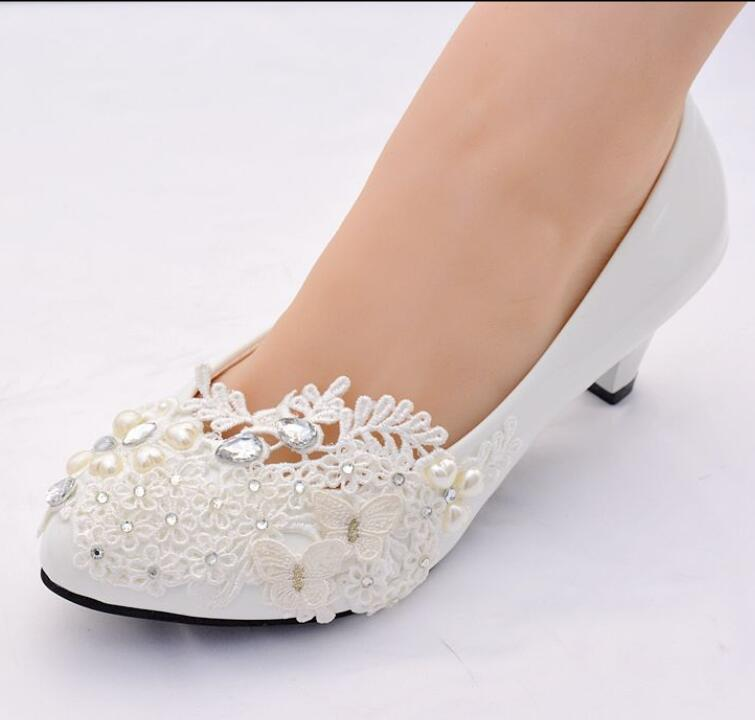 Fashion new white light ivory womens bridal wedding shoes bride plus size 41 42 crystal applique lace pearls bridesmaid shoe недорго, оригинальная цена