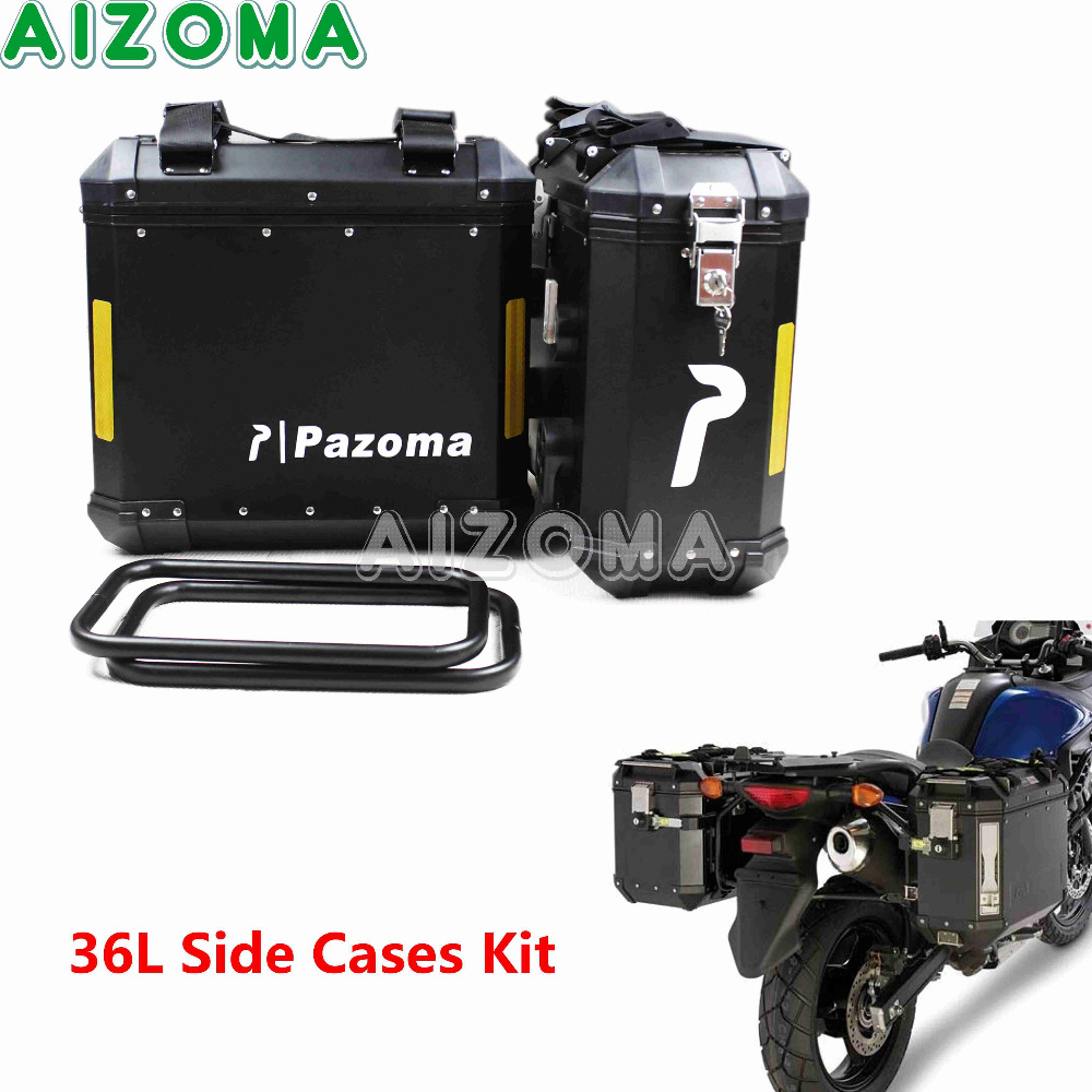 Black Motorcycle 36L Aluminum Side Box Storage Cases Kit w/Mount Bracket Luaggage Box Universal For Triumph BMW F800GS F800R abs eastor er my universal aluminum alloy abs motorcycle back pedal black yellow pair