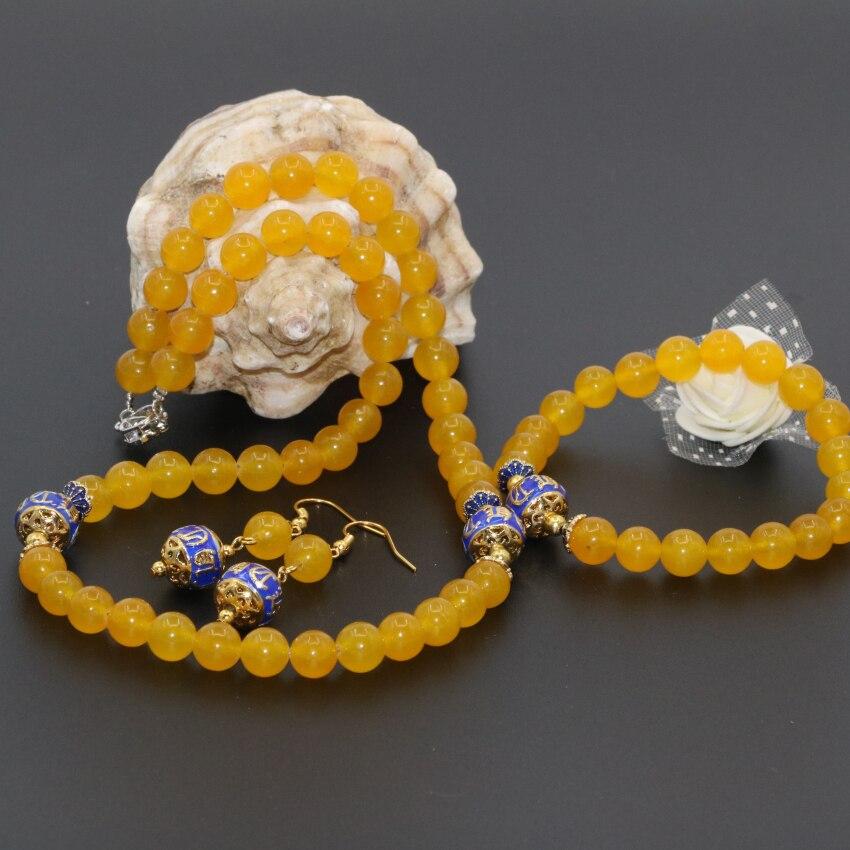 New arrival original design yellow jade topaz jasper round beads 8mm earrings necklace bracelets elegant jewelry set B2680
