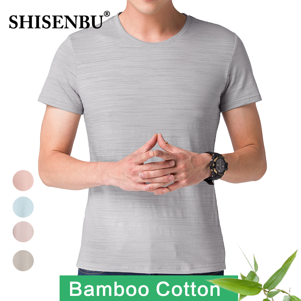 Men Bamboo Fiber T-Shirts 2019 Men's summer T-Shirts Tops Male Short Sleeve Cotton Tops tees bodybuilding Fold T-shirt man 3XL(China)