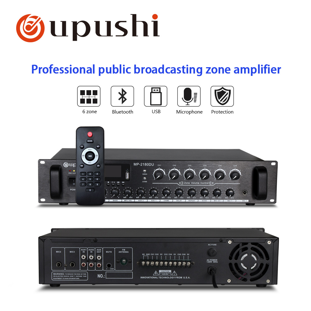Oupushi Newest PA Big Power Amplifier 180W-660W With 6 Zones Separate Control Audio Amplifiers MixerOupushi Newest PA Big Power Amplifier 180W-660W With 6 Zones Separate Control Audio Amplifiers Mixer