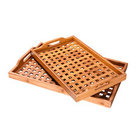 Bamboo Lattice Serving Trays with Handle for Tea/Coffee Creative Natural Wood Table Decor Storage Trays Fuirts/Cake Plate