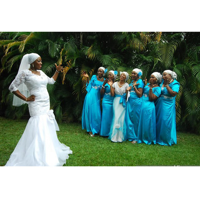 African 2017 Blue Short Nigerian Wedding Ceremony Dress Short Sleeve Sashes  Maid of Honor Wedding Party Dress Bridesmaid Dresses bbaad4208dce