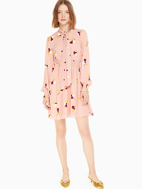 Women Dress 2019 Evening bud print mini dress Print Ribbon Bow Long Sleeve Elastic Waist Dress