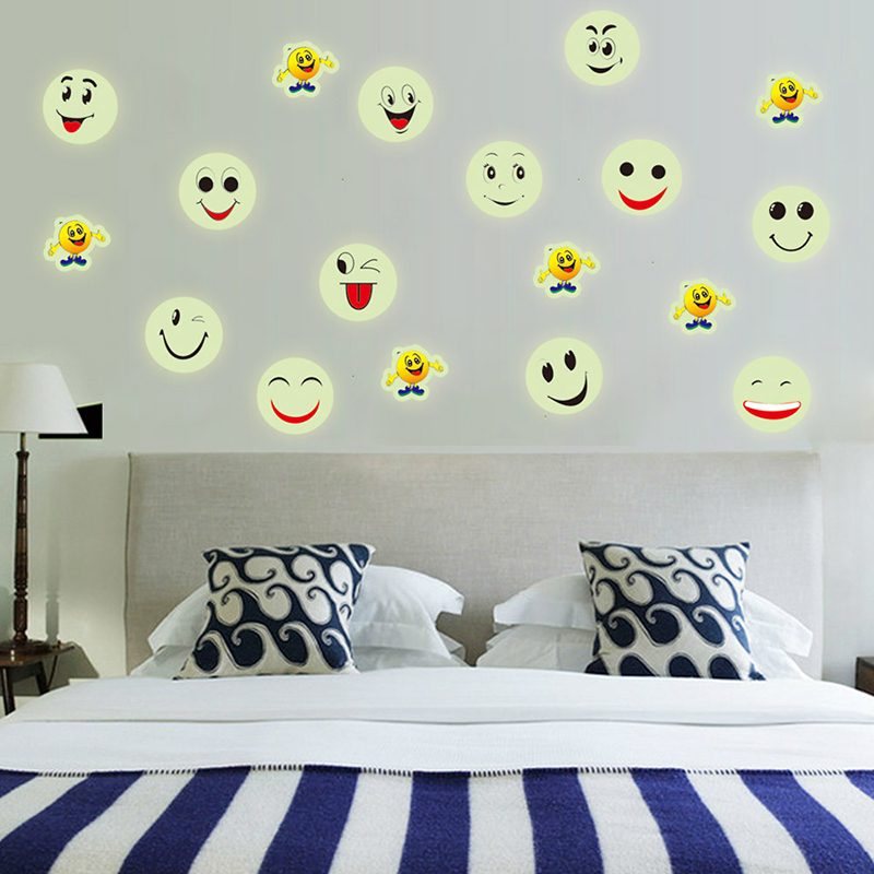 Night Luminous 3D Wall Stickers Creative Glowing Colorful Cartoon Smiley Face Vinyl Decals for Baby Room Wall Decoration