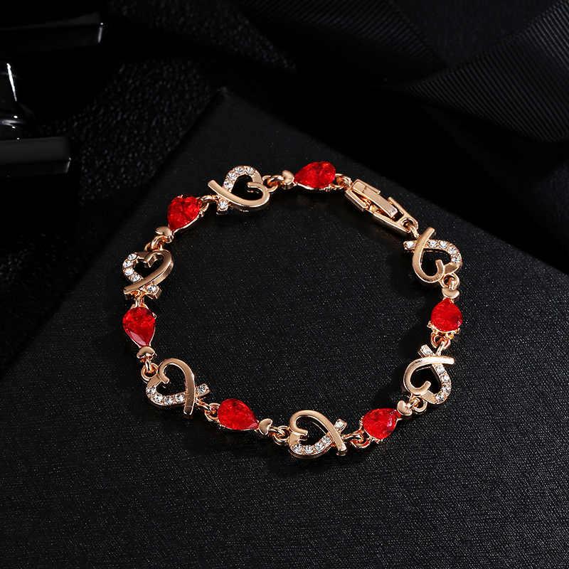 新スタイルブレスレットジルコン水晶のブレスレットの女性指チェーン女性 pulseras ブレスレットファムチャーム
