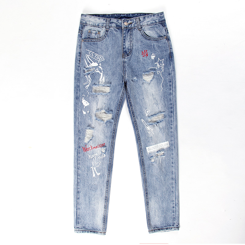 Spring Summer New Women's Print Hole Jeans Women Ankle-Length Straight Mid Waist Ripped Loose Denim Pants Blue Large Size L374