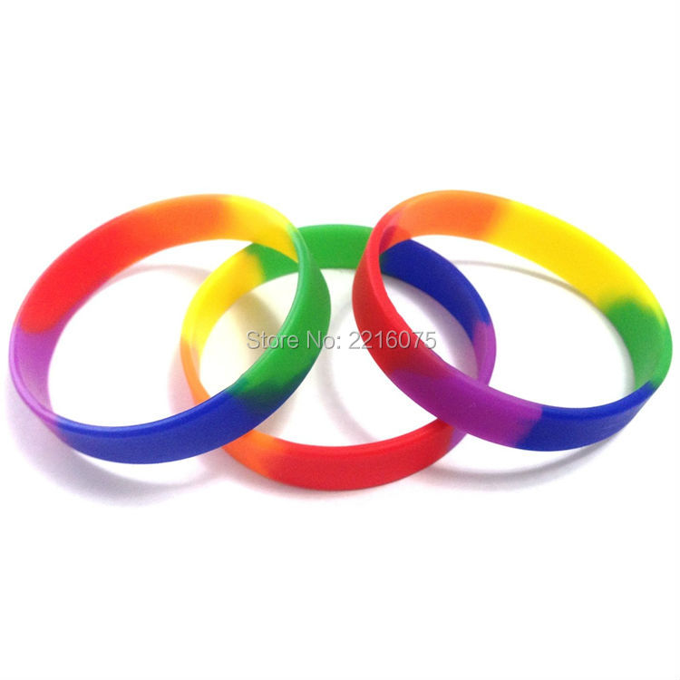 100pcs Rainbow Silicone Wristband Rubber Bracelets Free Shipping In Cuff From Jewelry Accessories On Aliexpress Alibaba Group
