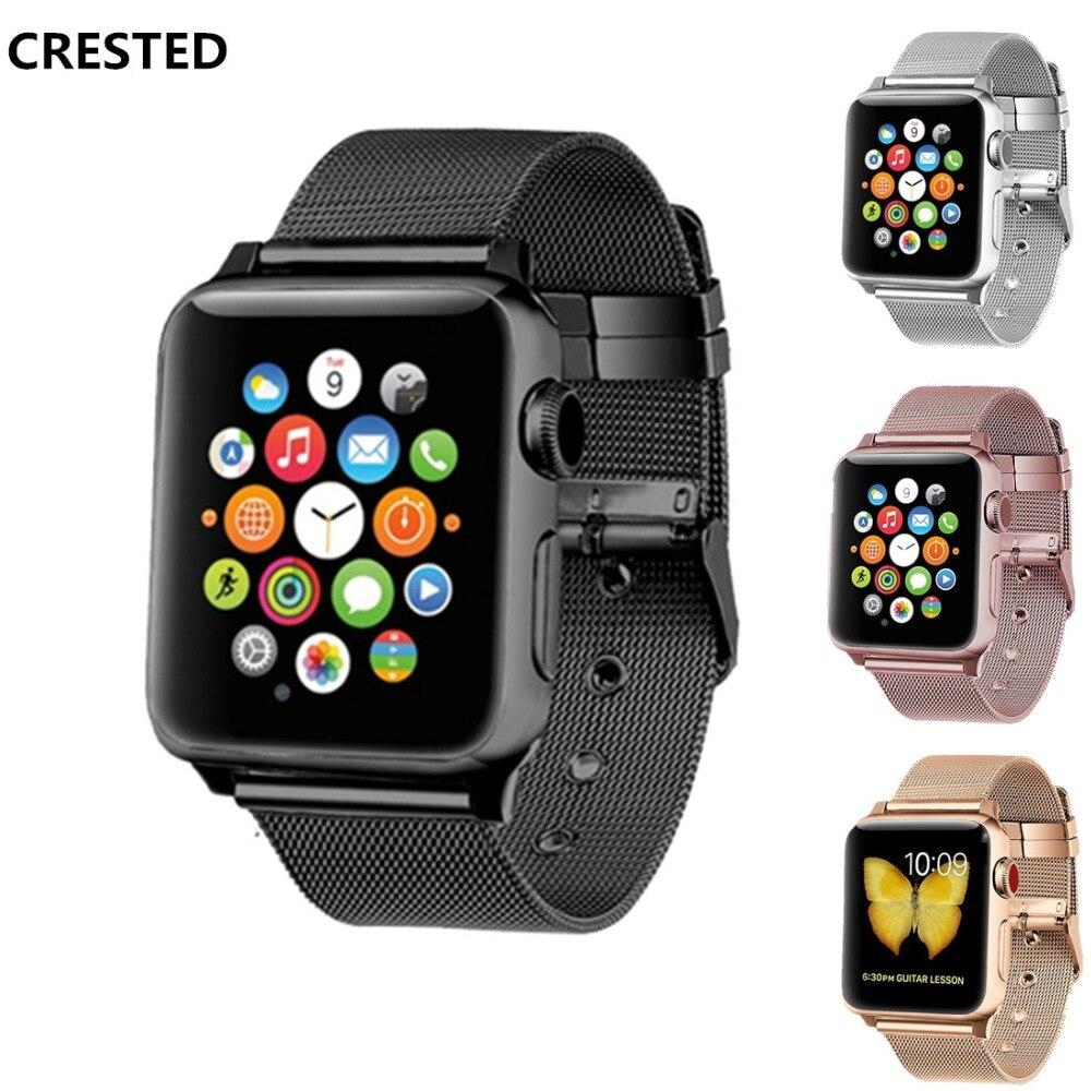 CRESTED Milanese Schleife Für Apple Uhr band 42mm 38mm edelstahl handgelenk bands iwatch serie 3/2 /1 luxus link armband gürtel