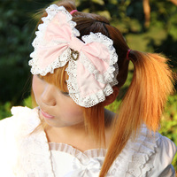 Sweet lolita princess hair accessory vintage royal hair accessory double layer bow headband princess headband cos hair band bow