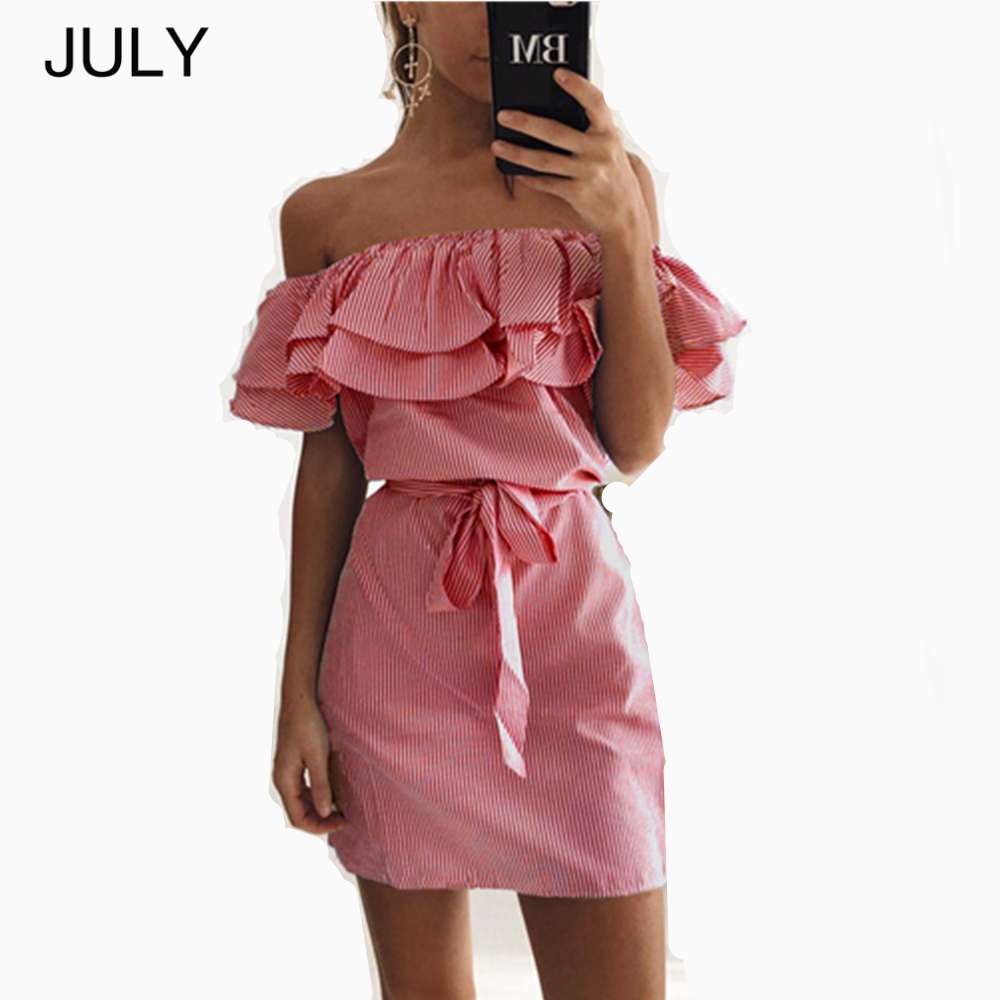 Women Dresses Striped Summer Dress Ruffle Collar 2019 Bandage Sundress Casual Sexy  strapless dress free shipp JULY