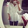 Autunm Мода Простой Белая Рубашка Повседневная Женщины Slim Fit отложным Воротником С Длинным Рукавом Футболка Бантом на Талии Пояс блузка Рубашка