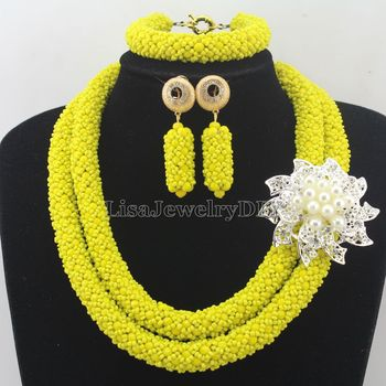 Handmade Statement Necklace Indian African Wedding Jewelry Sets Nigerian Beaded Wedding Bridal Necklace Jewelry Set HD7384
