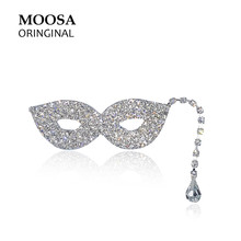 MOOSA Trendy Masquerade March Brooches Luxury Rhinestone Hijab Pins for Women Scarf Dress Hats Jewelry Decoration
