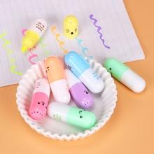 6PCS/set Mini Pill Shaped Highlighter Pens for Cute Smiling Face Graffiti Korean Stationery School Office Supplies