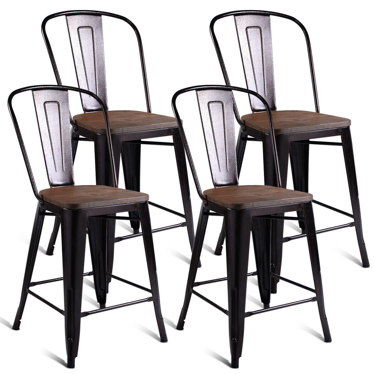 Costway Copper Set Of 4 Metal Wood Counter Stool Kitchen Dining Bar Chairs Rustic
