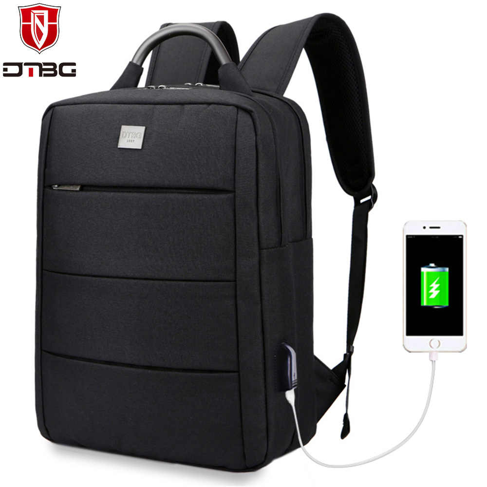 DTBG Backpack 15.6 inch Laptop Bag with USB Charge Port Nylon Computer Backpacks for Apple Macbook HP College School Travel Bags