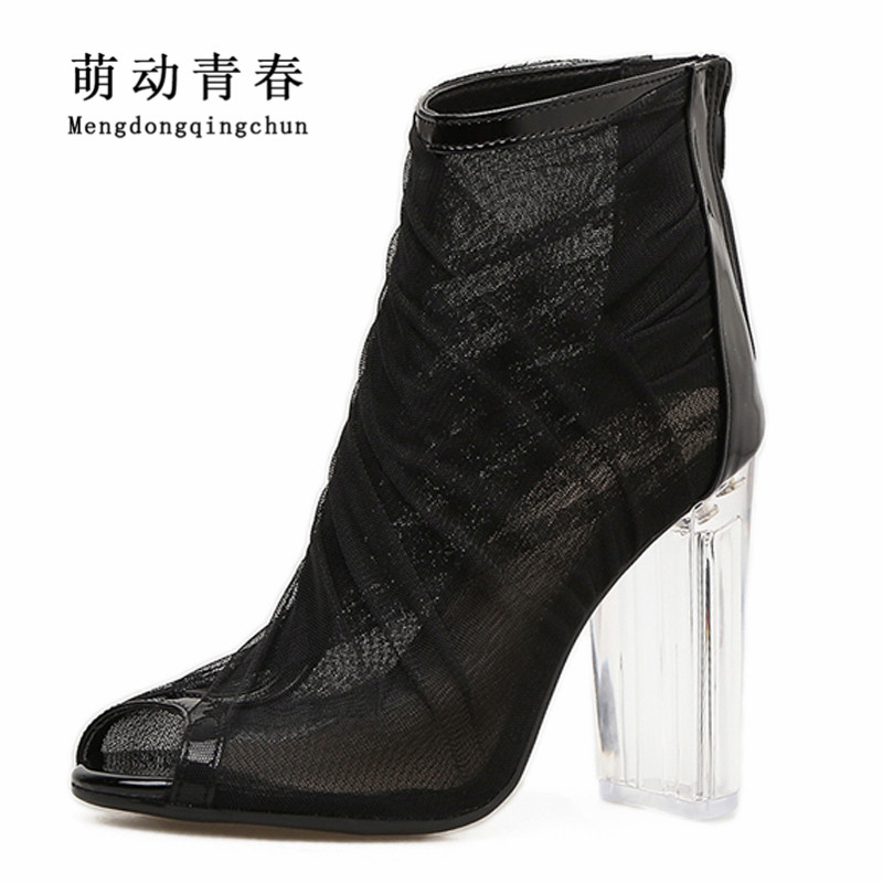 New Women Pumps Sexy Peep Toe Sexy Mesh High Heels Summer Shoes Women Fashion Riband Casual Rome Zip Clear Heel Pumps 2400mah replacement battery pack for psp slim 2000