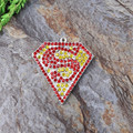 Free Shipping High Recommend 45x41mm 10pcs/lot AAA Quality Superman Rhinestone Pendant for kid's Necklace Jewelry