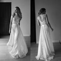 Elegant Short Sleeves Bohemia Two Pieces Beach Wedding Dresses A Line Beaded Top Tulle Brial Gown