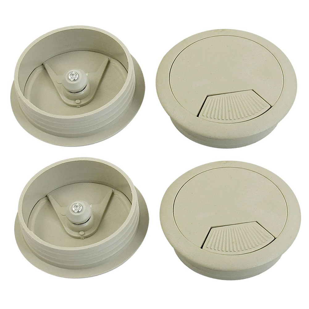 Plastic Gray Grommet Cable Hole Cover 50mm Dia 4pcs for Computer TablePlastic Gray Grommet Cable Hole Cover 50mm Dia 4pcs for Computer Table
