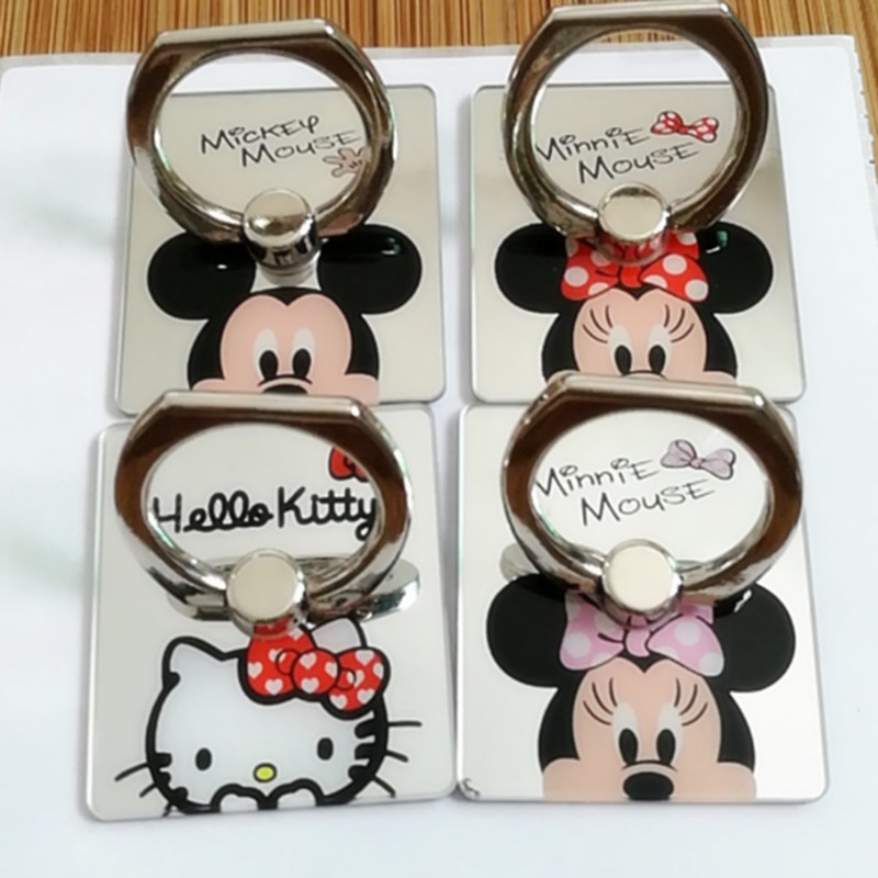 Mirror Cartoon Mickey Minnie Ring Holder Case For iPhone 6 7 6S Plus For iPhone X Hello Kitty Ring Holder for Samsung S9 Plus s8
