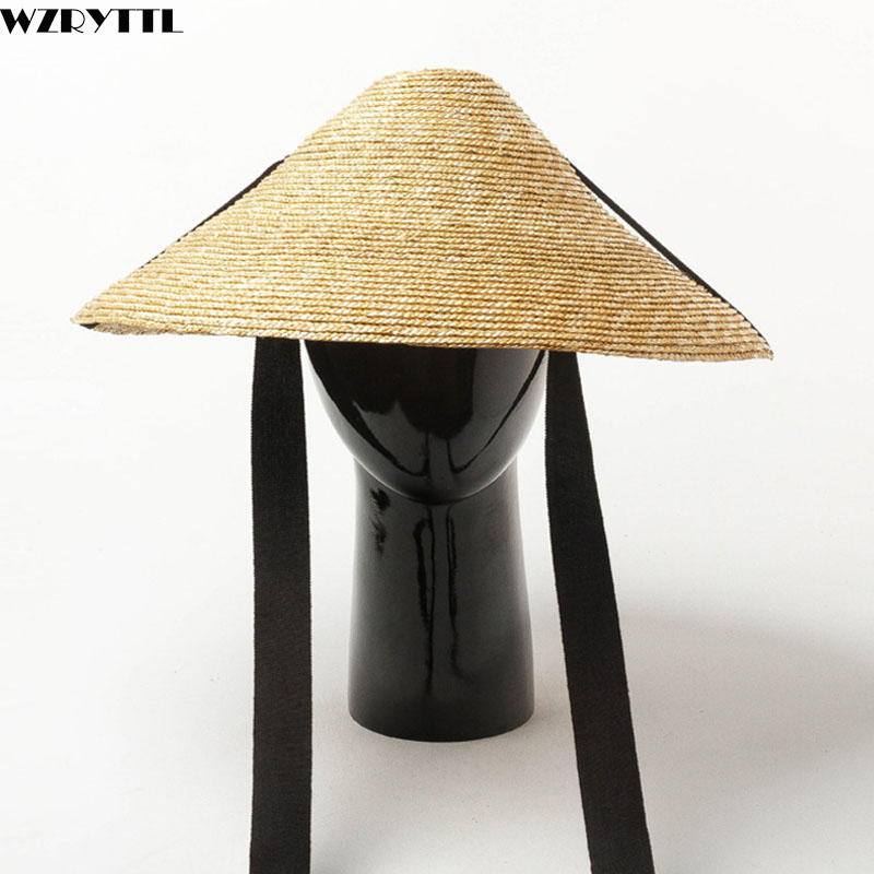 New Show Summer Hat Outdoor Large Brim Sun Protection Straw Hat With Black Band Tie Women Men Concave Floppy Derby Beach Cap