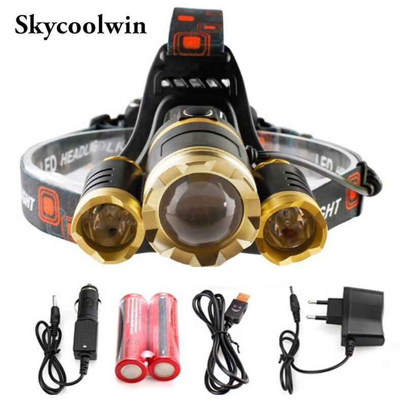 Rechargeable Headlamp <font><b>10000</b></font> lumens LED hHeadlamps Head Flashlight Torch CREE XML 3T6 Waterproof <font><b>lights</b></font> Headlight 18650 Battery