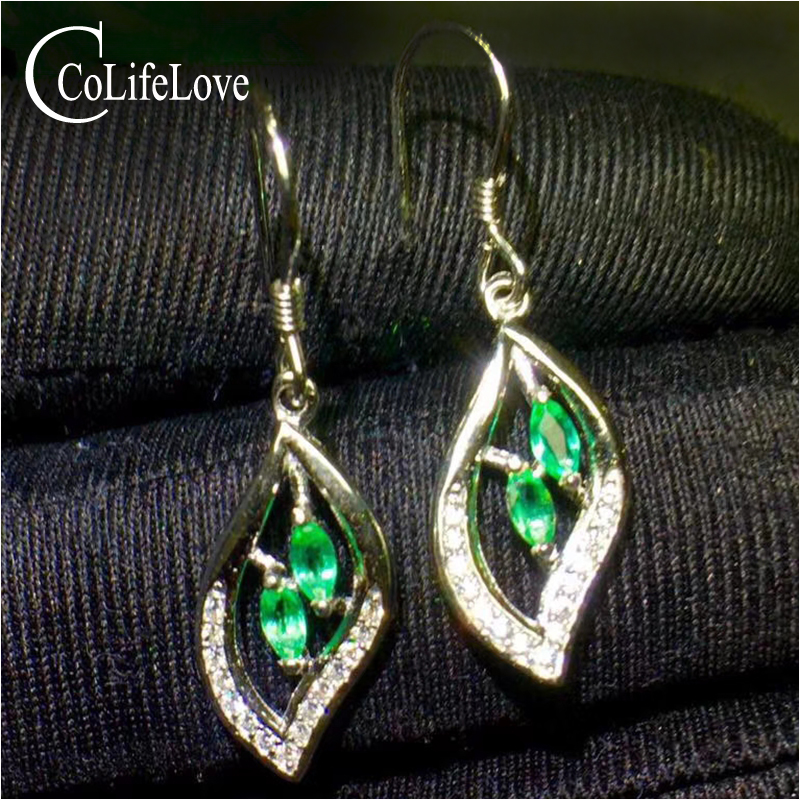 Fashion silver leaf drop earrings with emerald 2.5 mm*5mm natural emerald drop earrings for party silver emerald wedding jewelry купить в Москве 2019