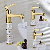 Vintage Sitting Polished Hot Cold And Hot Water Plating Brass Tap European Zirconium Gold Porcelain Table Basin Faucet J2198