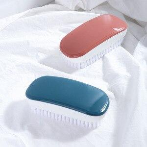 Image 2 - FOURETAW 1 חתיכה כחול ורוד בית שימוש סוג רך פרווה נעלי ניקוי מברשת נוח זכוכית רצפת מנגל אסלה בגדי מנקה מברשת