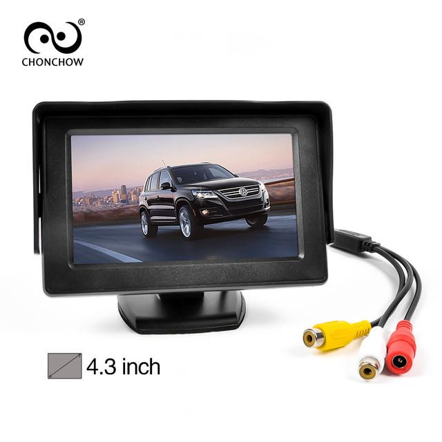 """4.3 """"dobrável TFT 480*272 LCD a Cores de Carro Espelho Retrovisor Reverso Do Monitor 4.3 polegada 2 Way Monitor de Segurança Do Carro para a Câmera DVD VCR"""