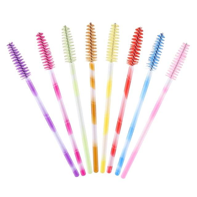 50pcs/lot Eyelash Brushes Colorful Handle Disposable Mascara Wands Applicator Eye Lashes Brushes Eyelash Makeup Accessorices False Eyelashes